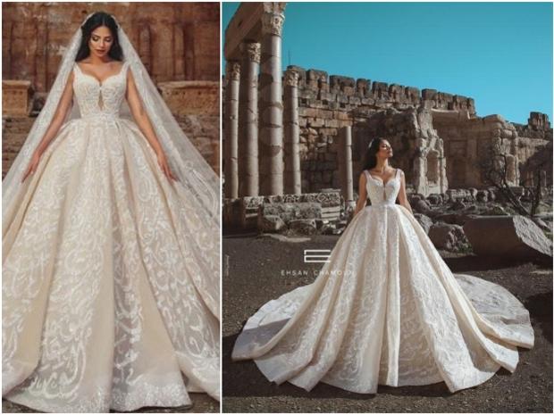 فستان زفاف مطرز بقصيدة كاملة لنزار قباني بأنامل إحسان شمعون