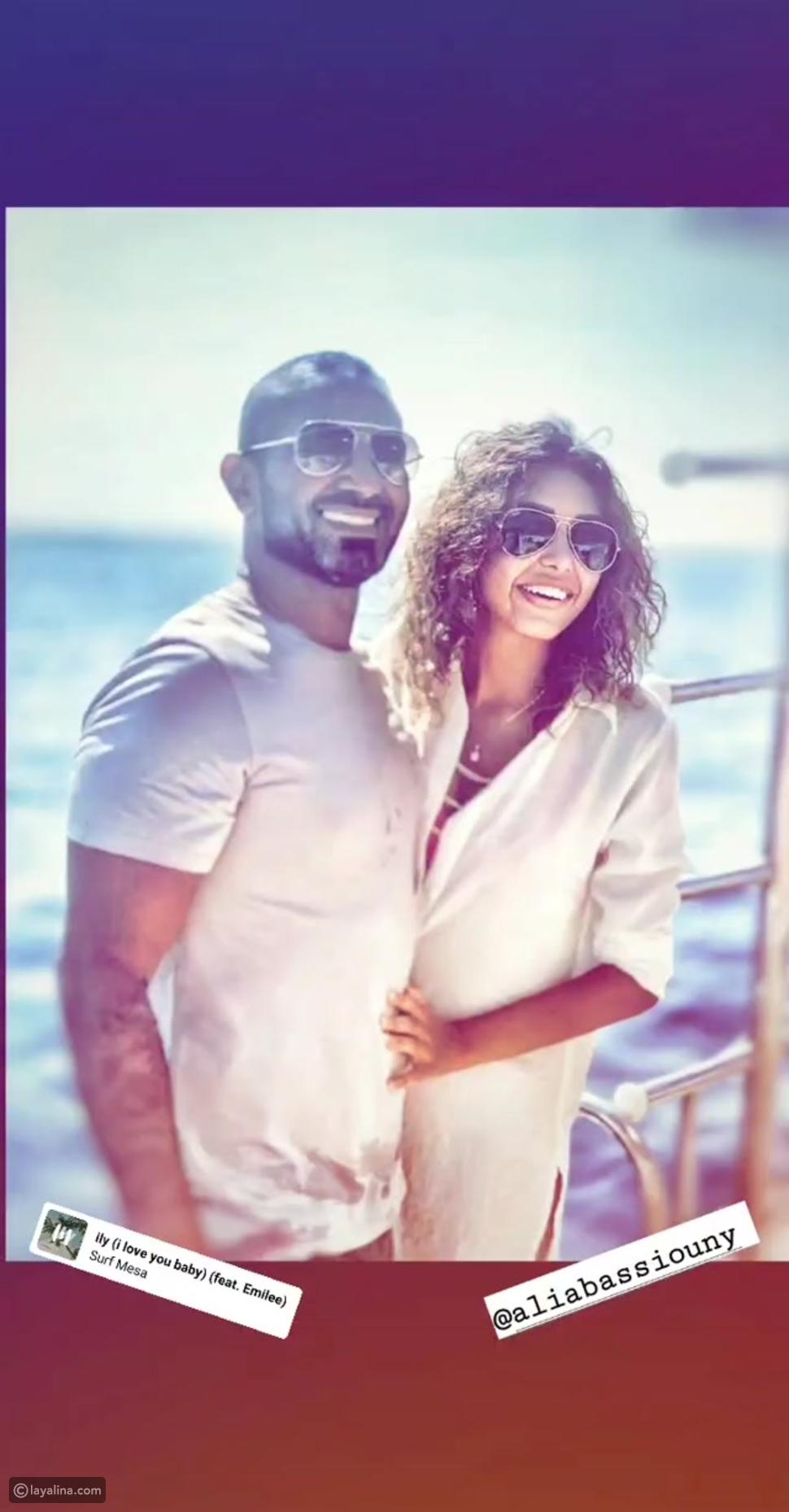 صورة جديدة لأحمد سعد وخطيبته علياء بسيوني