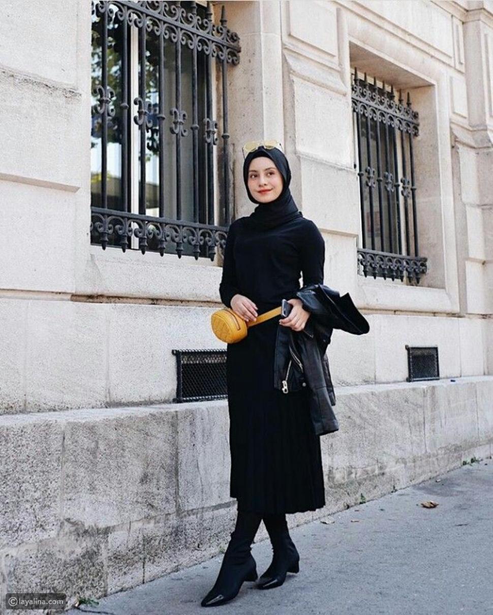 إطلالةأنيقة باللون الأسود للاحتفال باليوم العالمي للحجاب