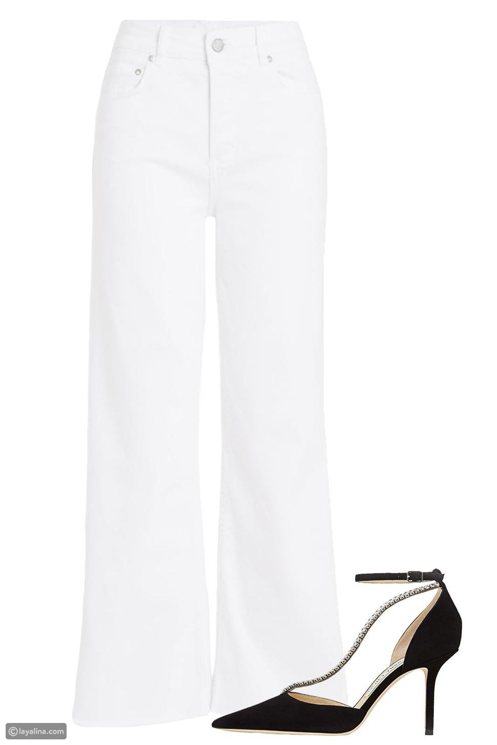 جينز أبيض مع حذاء أسود أنيق
