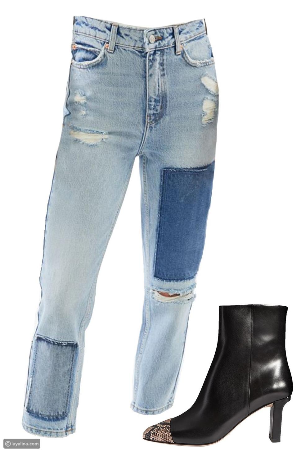 خليط الجينزPatchwork Jeansمع حذاء من الجلد