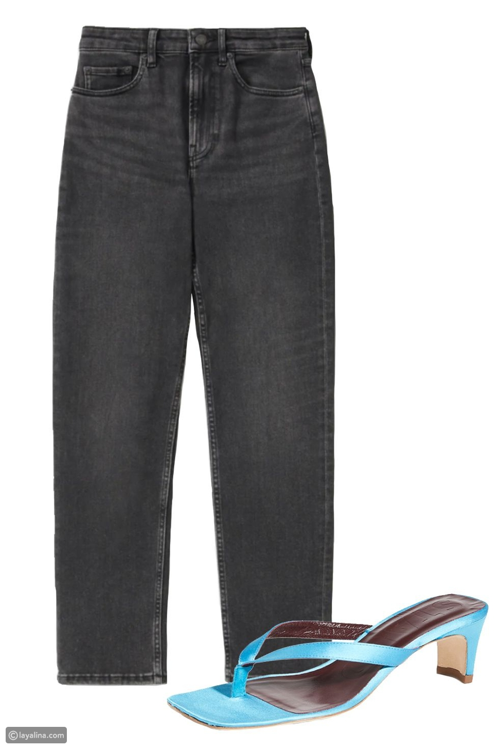 جينز أسود مع حذاء ملون