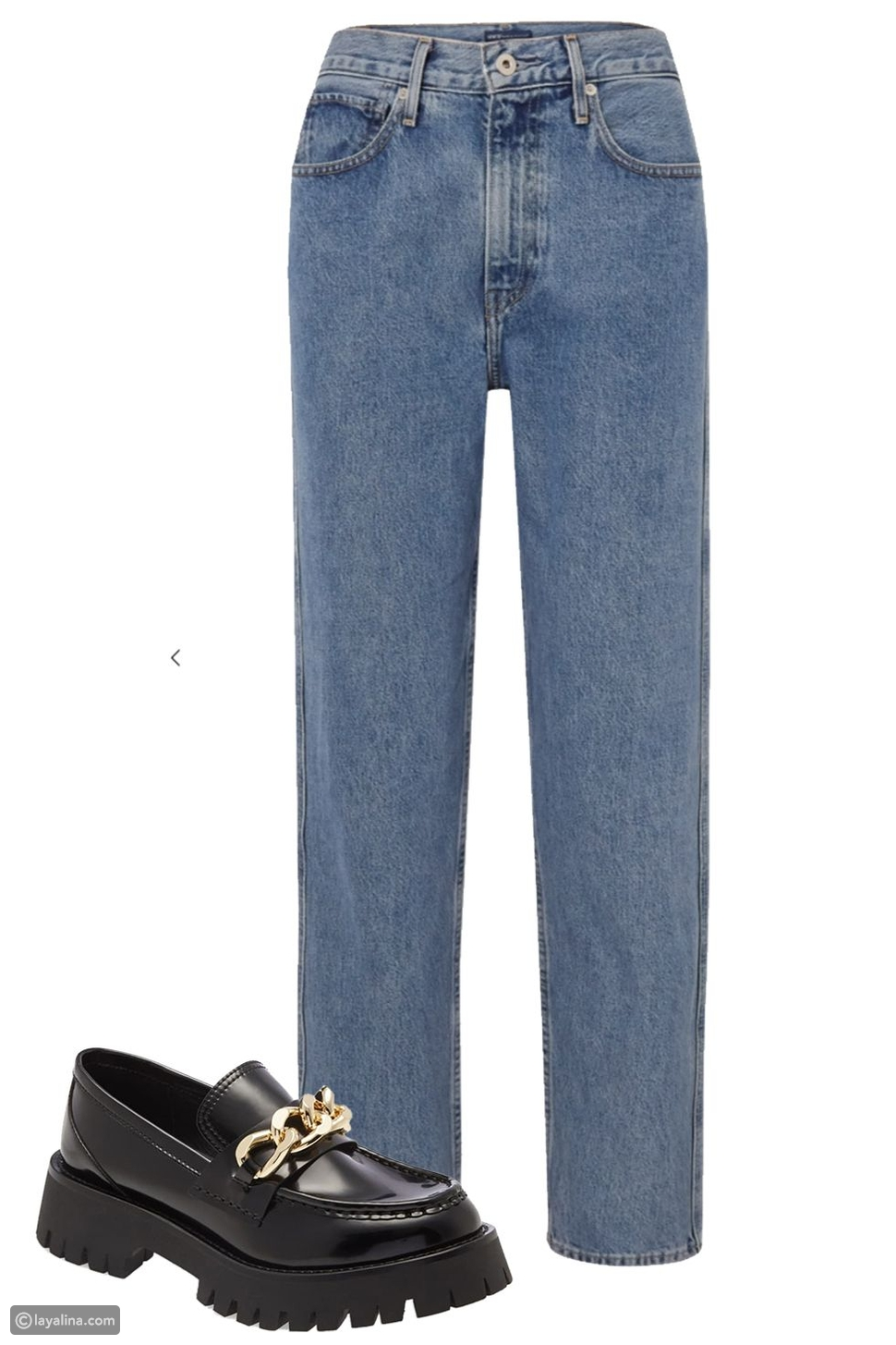 Mom Jeans مع حذاء مسطح