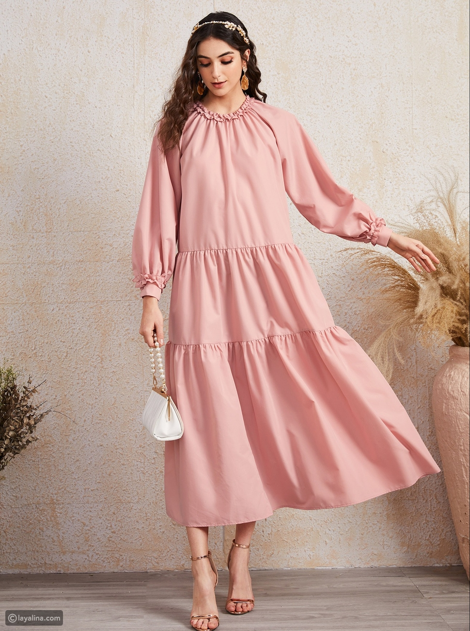 فستان كشكش SHEIN Frill Trim Neck Smock Dress