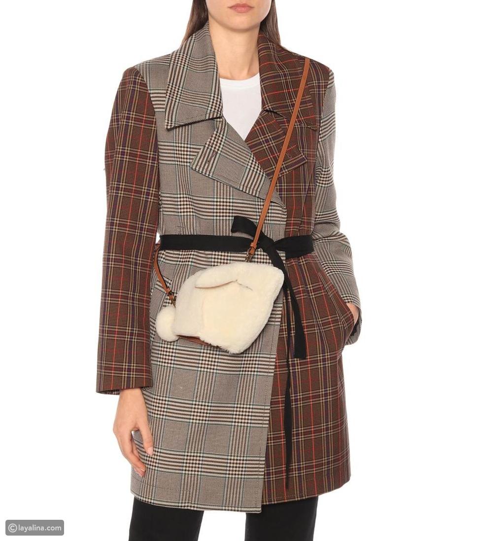 حقيبة كتف من Loewe White Bunny Mini Shearling