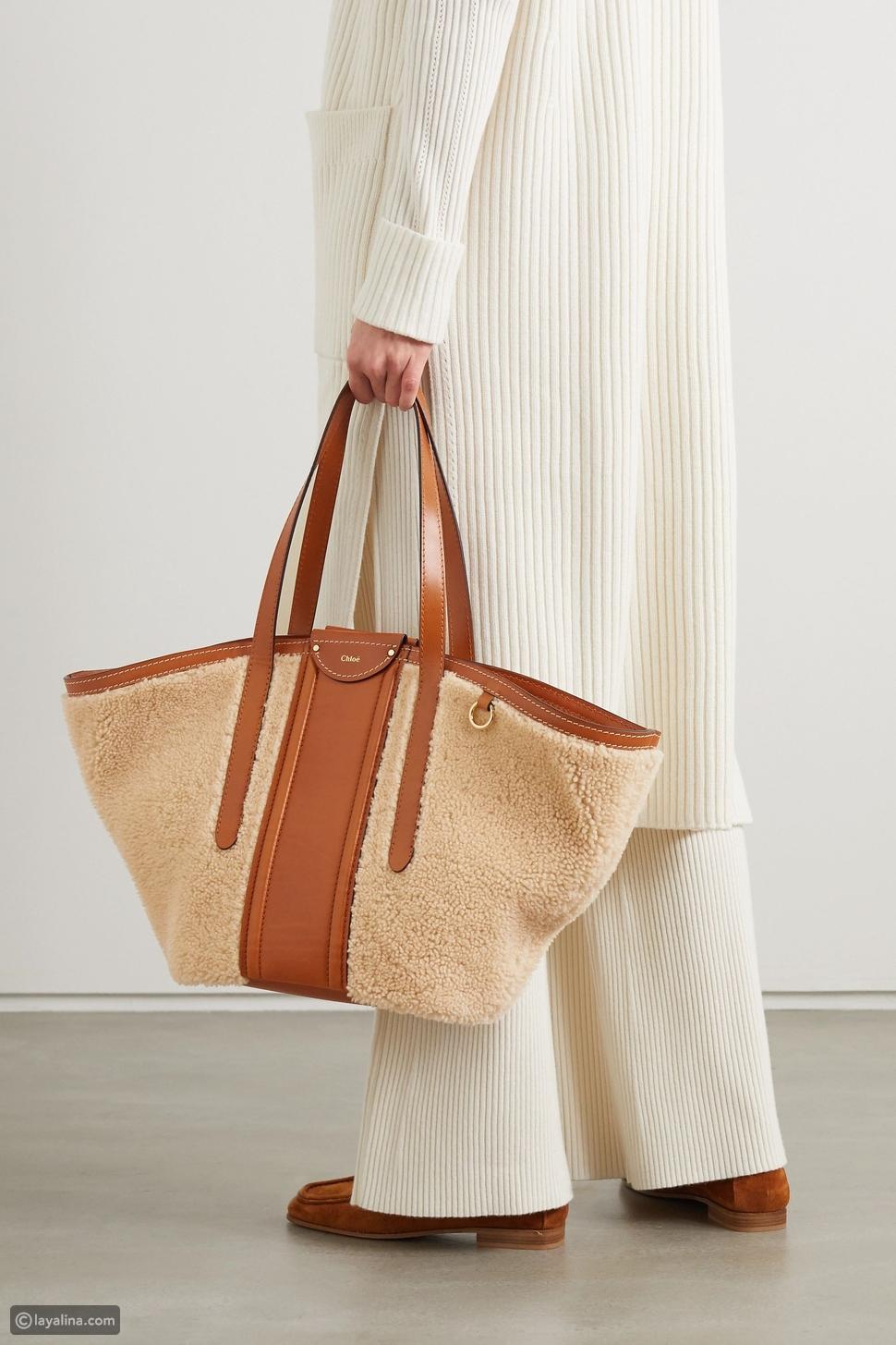حقيبة يد كلوي فريدي متوسطة الحجم مشذبة بالجلد