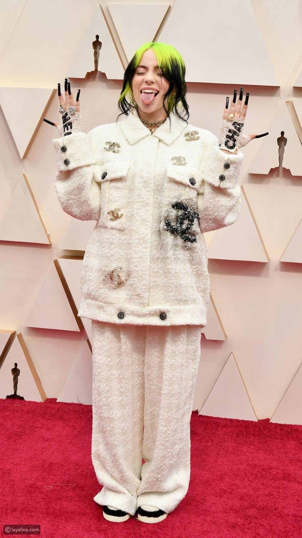 بيلي إيليش ترتدي بدلة من التويد من  Chanel في حفل جوائز الأوسكار