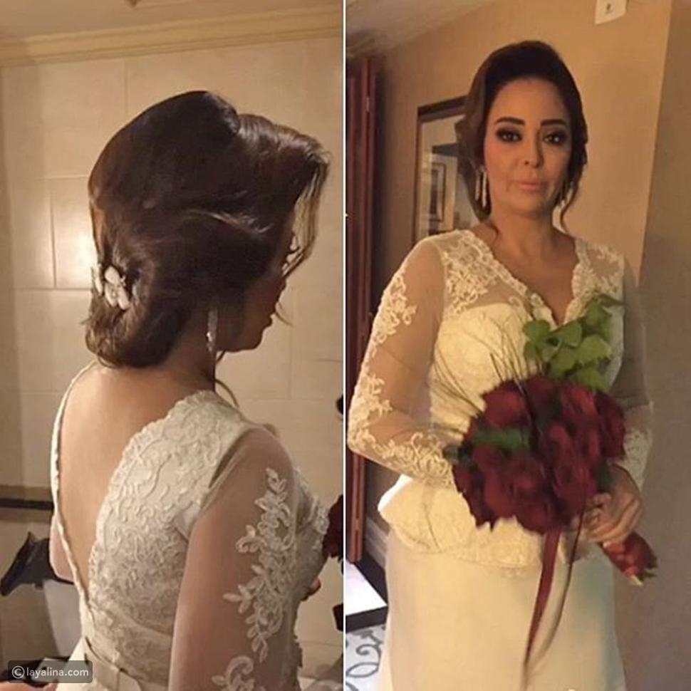 الصور الأولى لداليا البحيري قبل بدء حفل زفافها بدقائق