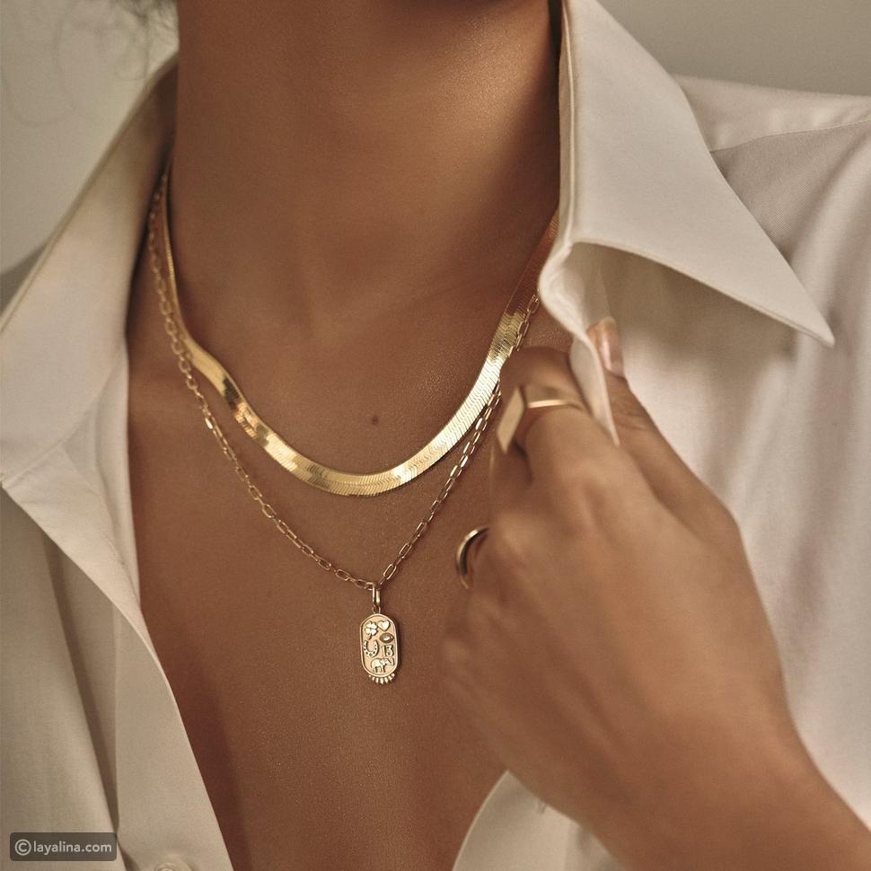 قلادات ذهبية Herringbone Gold