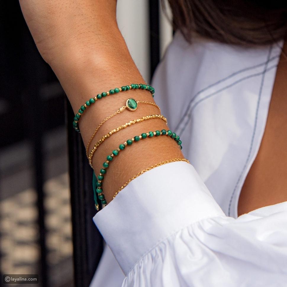 """مجوهرات مرصعة بحجر الملكيت """"Malachite"""""""