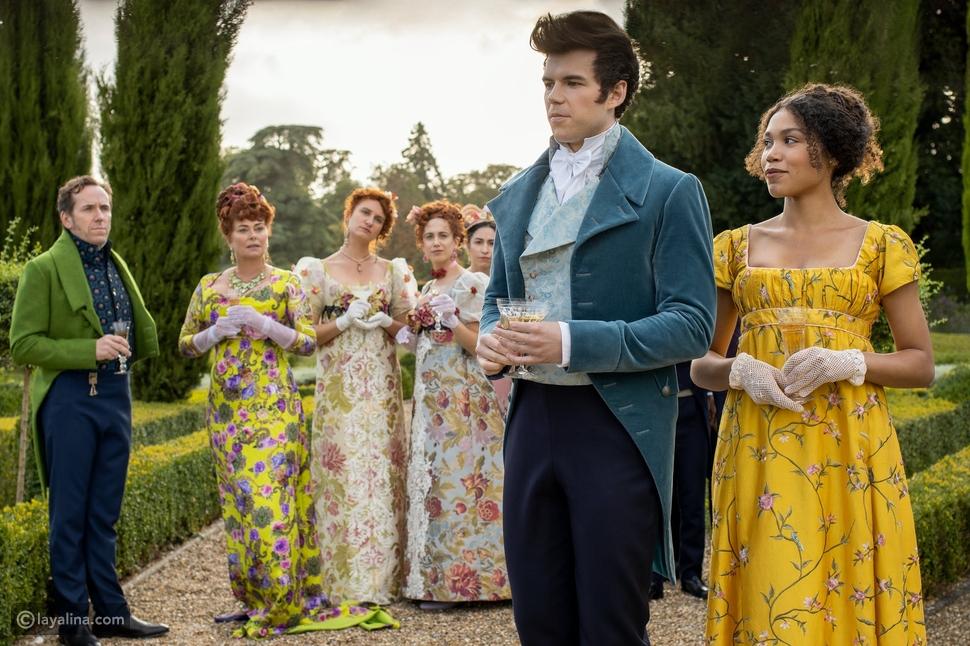 فخامة ملابس  عصر ريجانسي البريطاني واضحة في مسلسل Bridgerton