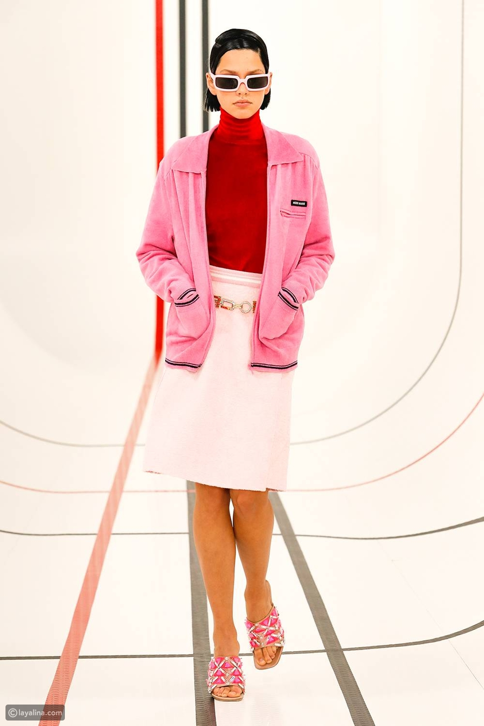 اللون الوردي في دار أزياءMiu Miu