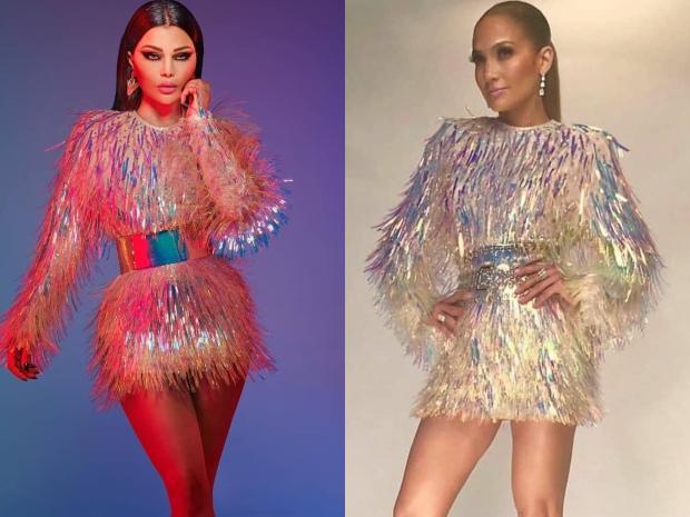 منافسة بين هيفاء وهبي وجينيفر لوبيز بنفس الفستان من دار Balmain