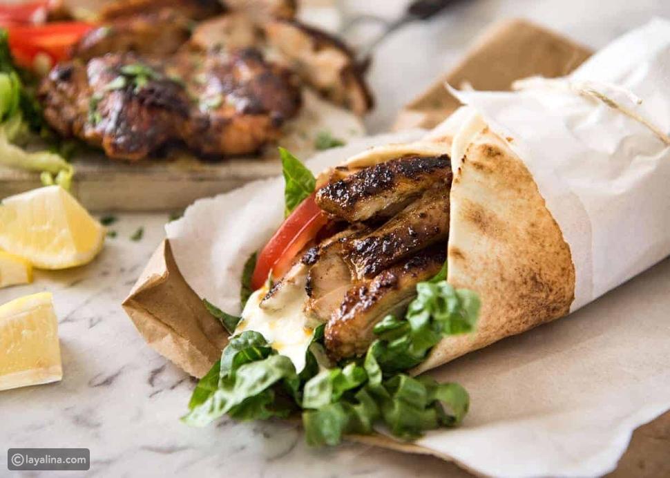 طريقة عمل شاورما الدجاج اللبنانية