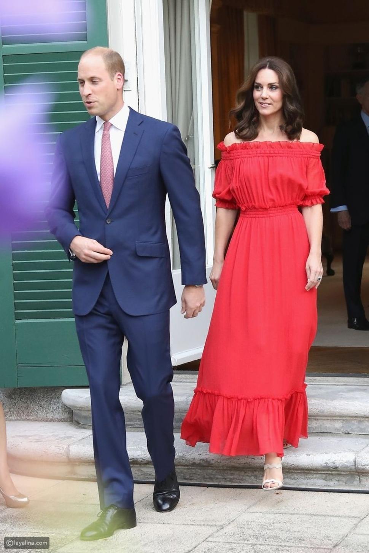 كيت ميدلتون بفستان أحمر منزلق الأكتاف من تصميم أليكسندر مكوين