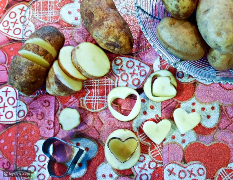 طريقة عمل قلوب البطاطس المشوية