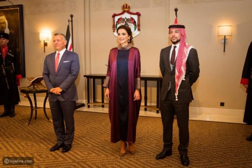 الأمير الحسين والملكة رانيا والملك عبدالله الثاني في عيد الاستقلال