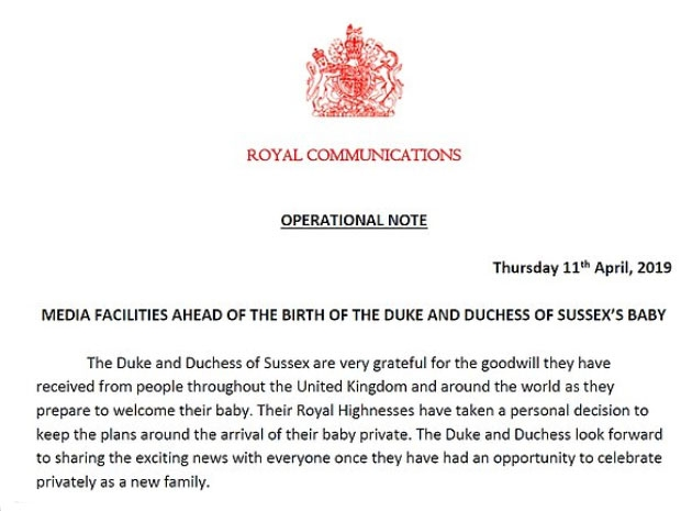 بيان قصر بكنغهام  عن مولود الأمير هاري وميغان  ماركل