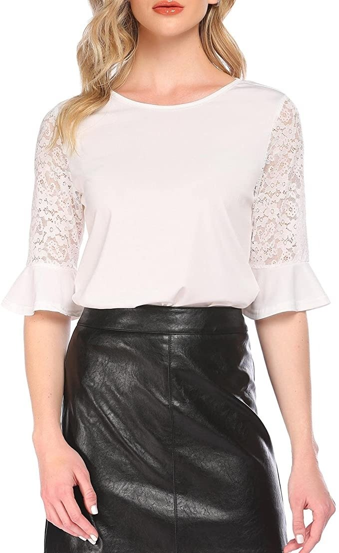 White shirt with lace sleeves
