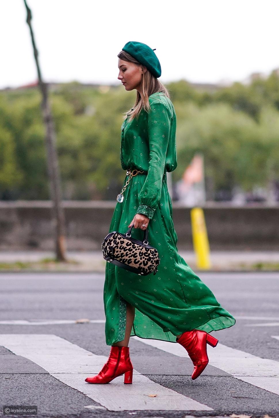 إطلالة باللون الأخضر الامع