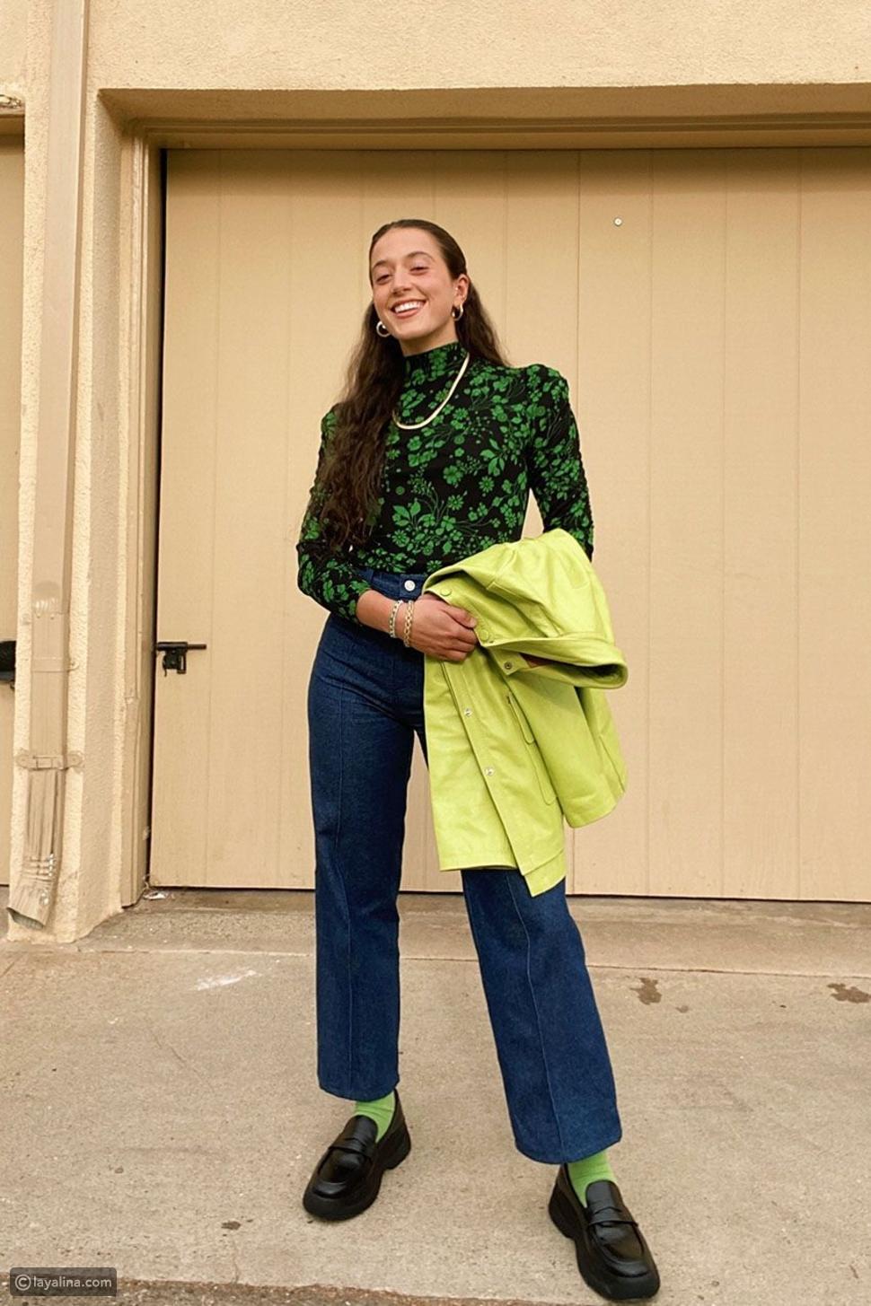 بلوزة هاي كول ملونة معالجينز والجوارب وحذاء لوفر