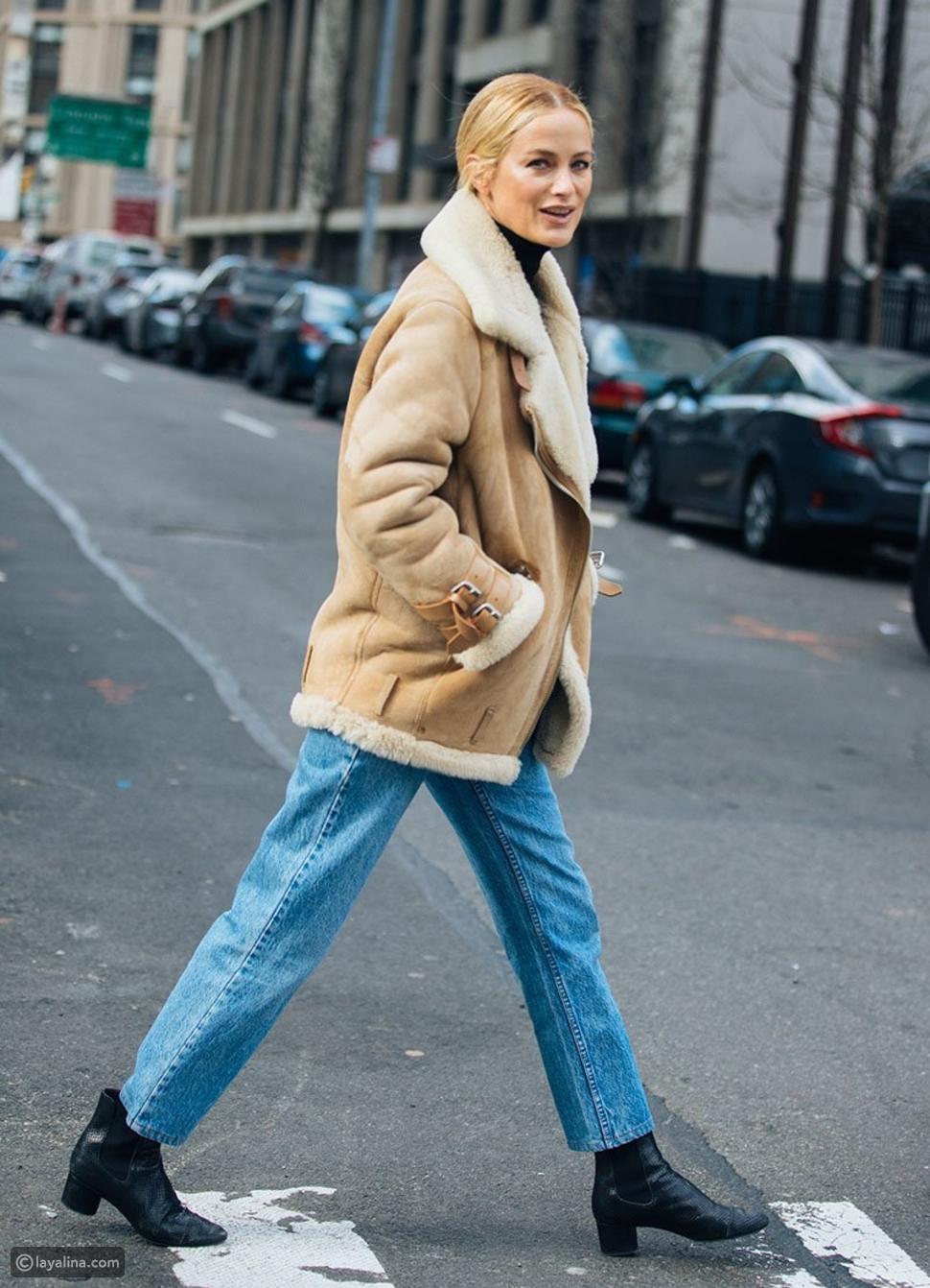 بنطلون جينز مستقيم مع تصميم الكاحل الواسع