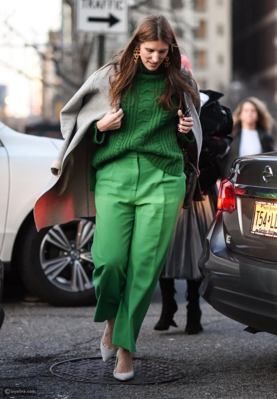 تنسيق إطلالة كاملة باللون الأخضر