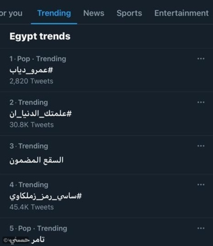 """عمرو دياب يتصدر تريند """"تويتر"""" بعد أغنية """"فاكرني يا حب"""""""