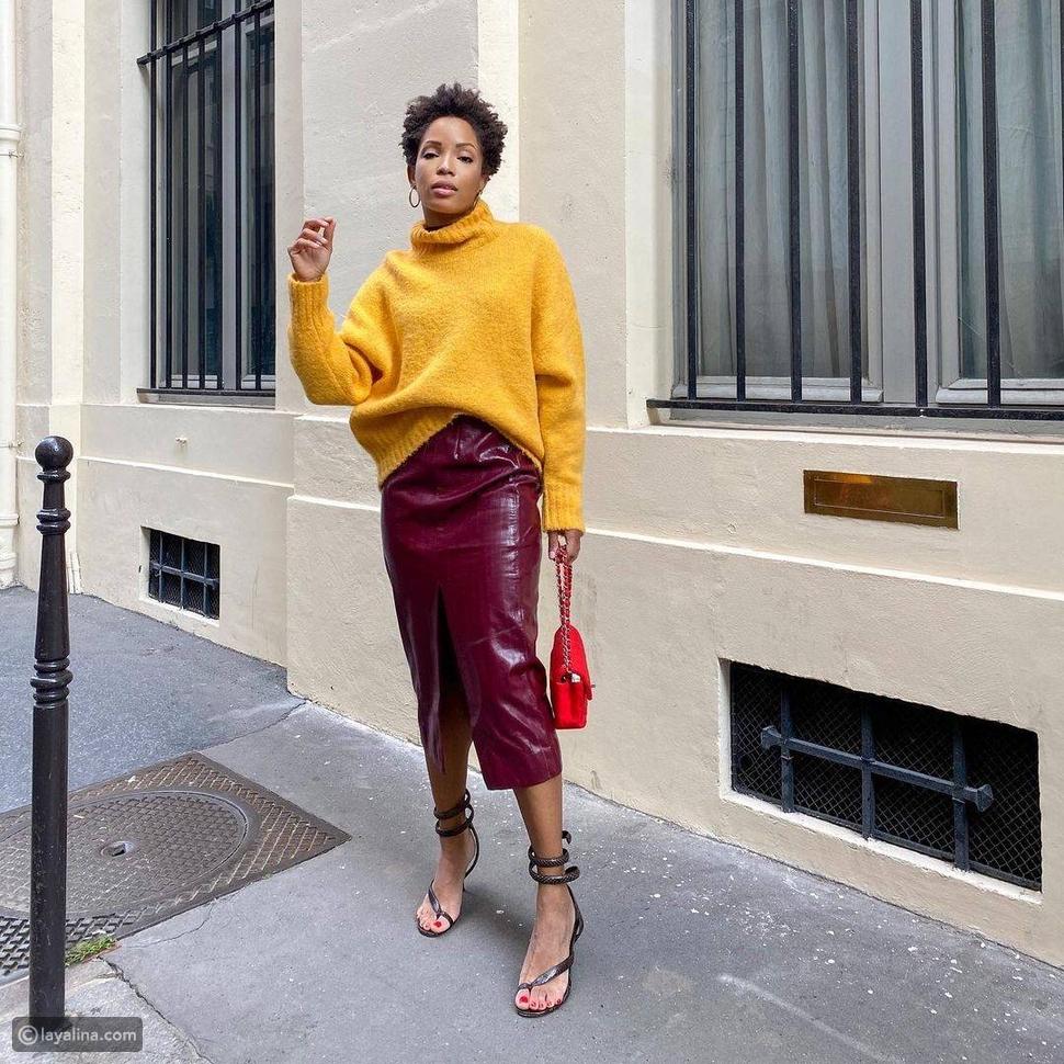 لون الخردل الأصفر مع الأحمر البرغندي