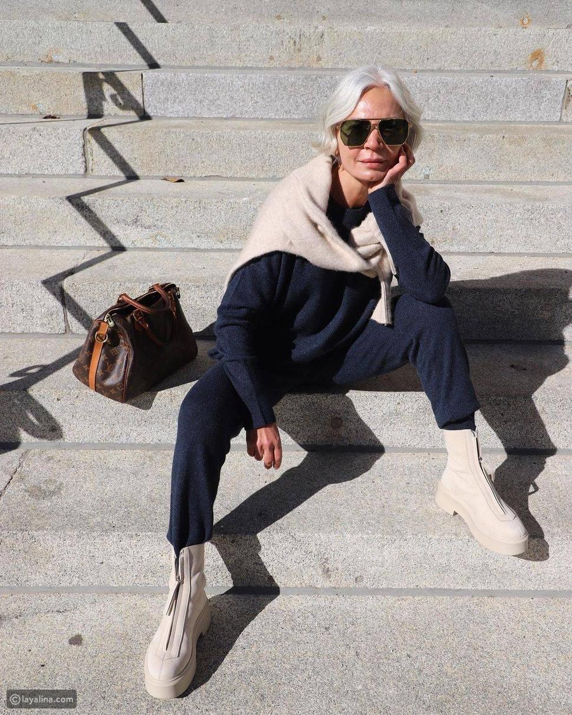 أزياء كاجول مع حذاء هاف بوت أنيق