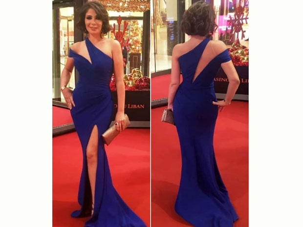 فستان منى زكي من تصميم انطوان قارح