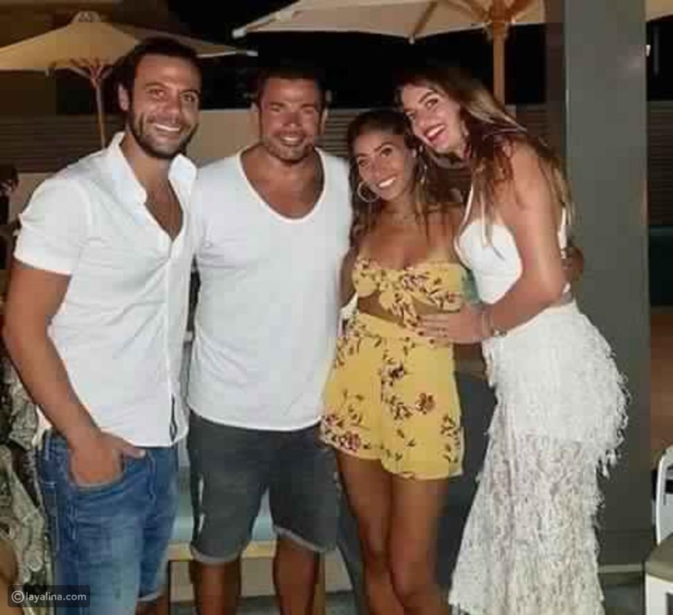 عمرو دياب ودينا الشربيني مع محمد إمام وعروسه