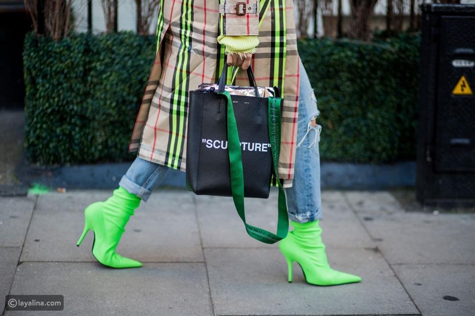 أحذية بألوان الأخضر الليموني