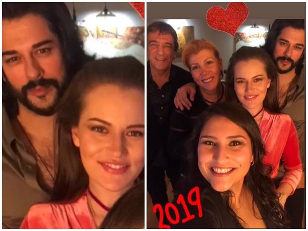 بوراك أوزجيفيت وزوجته فهرية إفجان وأصدقاؤهما بحفل ليلة رأس السنة