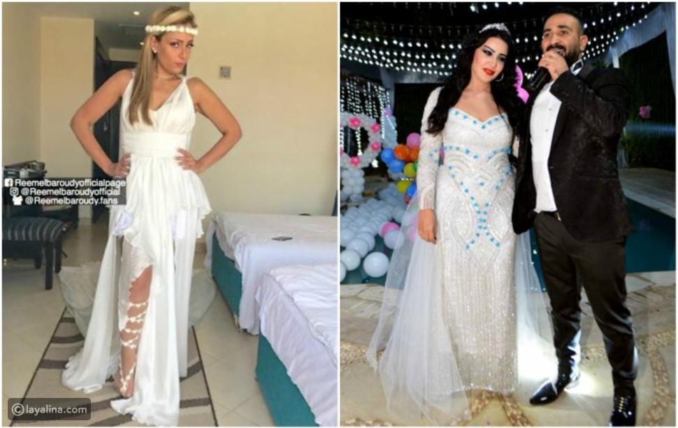 ضجة بسبب فستان ريم البارودي الأبيض بعد عقد قران سمية الخشاب وأحمد سعد