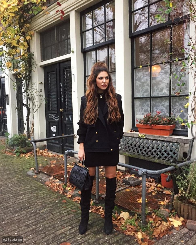 فستان أسود مع سترة