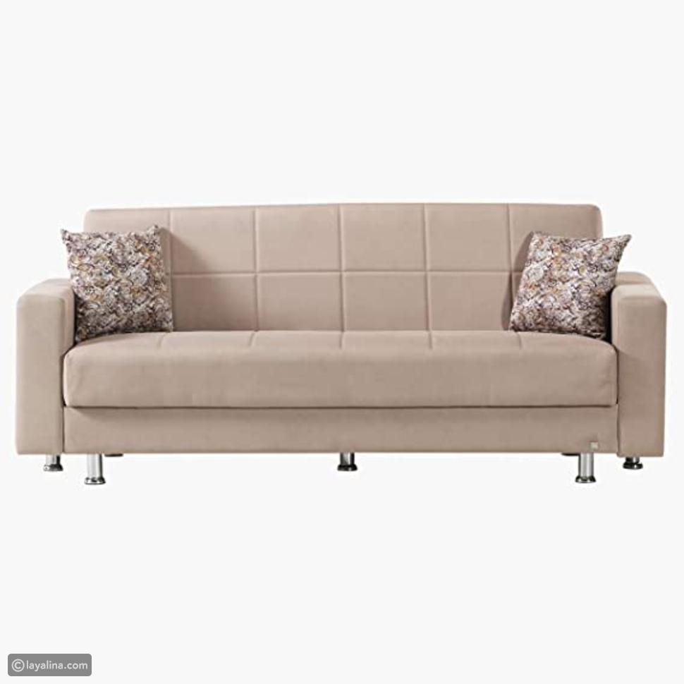 اريكة سرير من زيوس مع مساحة تخزين + وسادتين - كاكي