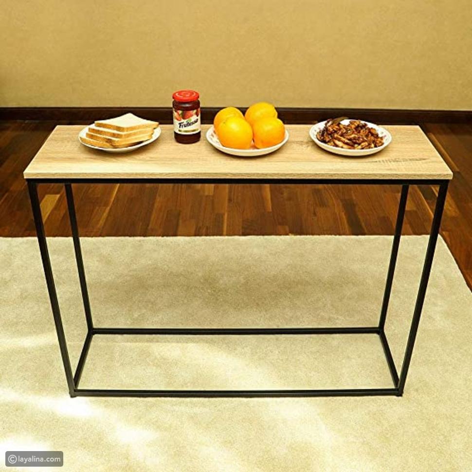طاولة خشبية بحامل معدني