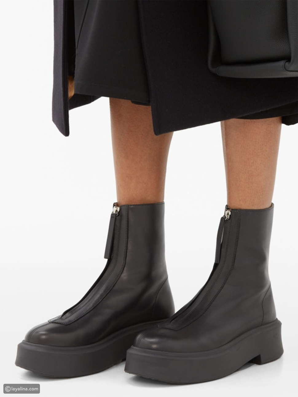 "حذاء ذا رو سحاب 1 من الجلد للكاحل ""The Row Zipped 1 Leather Ankle Boots"""