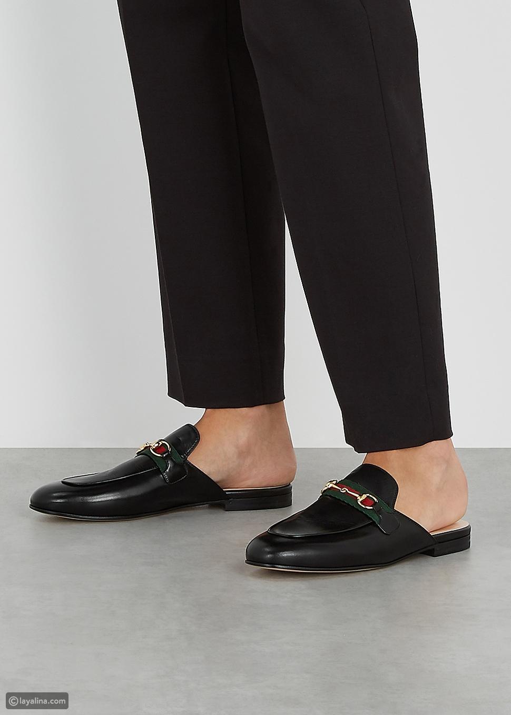 """حذاء لوفر غوتشي برينستاون جلد بدون ظهر """"Gucci Princetown Leather Backless Loafers"""""""