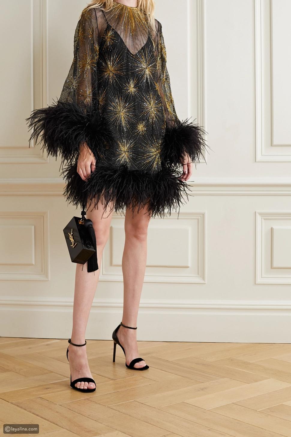 فستان قصير مطرز بالريش من الحرير والأورجانزا منSaint Laurent