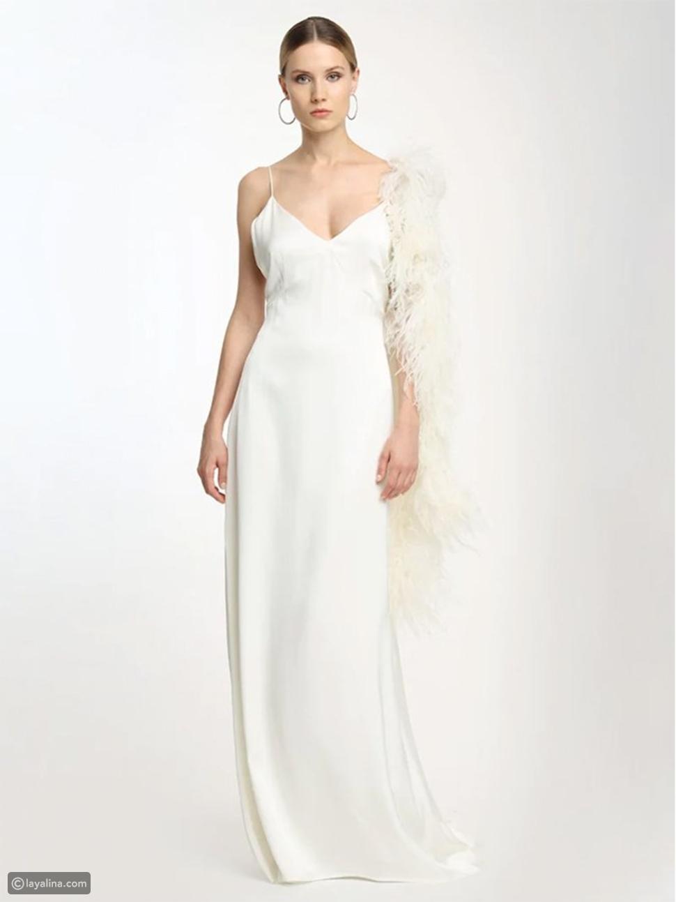 فستان من الحرير مع ريش بوا من Magda Butrym