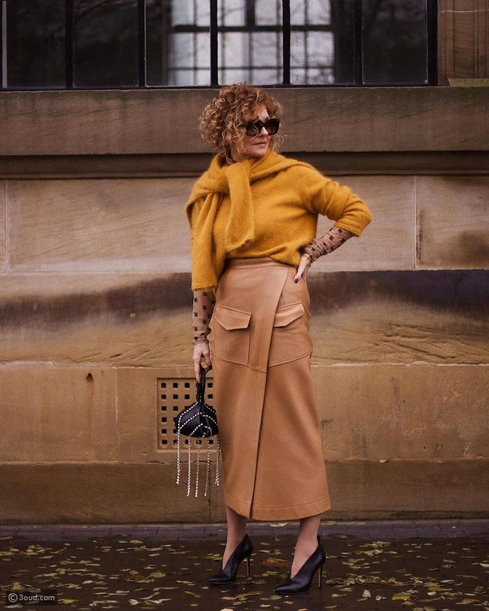 تنورة جلد Leather Skirt