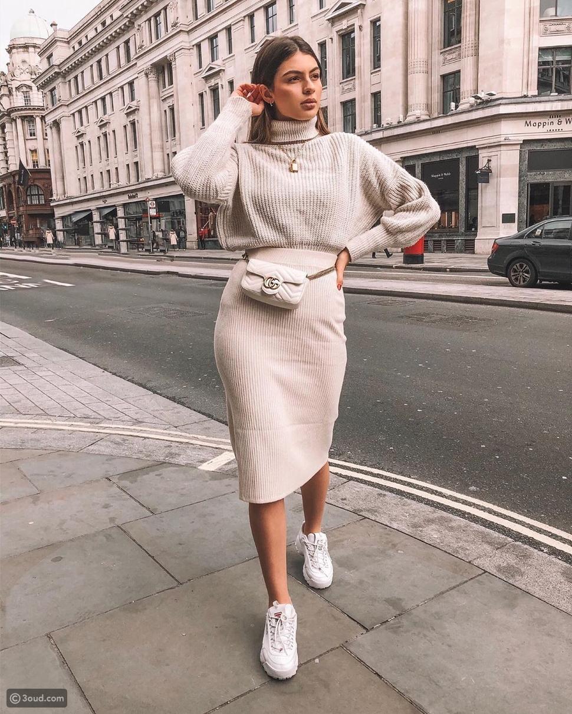 تنورة صوف مضلعة Ribbed Skirt