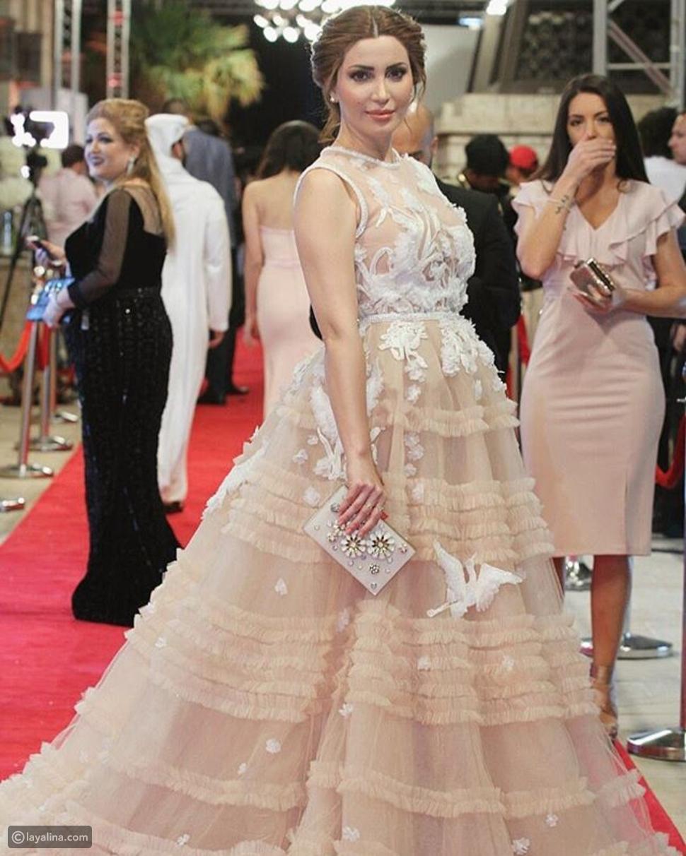 نسرين طافش في ختام مهرجان دبي السينمائي بفستان من تصميم أماتو