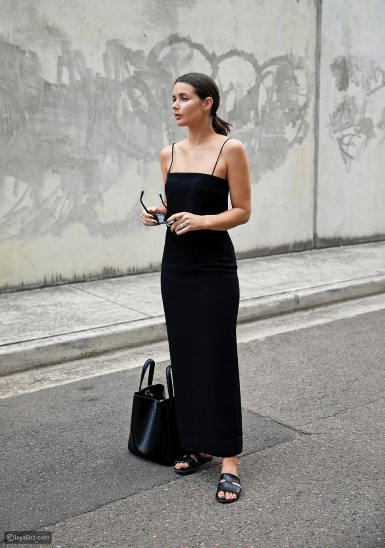 فستان أسود ماكسي
