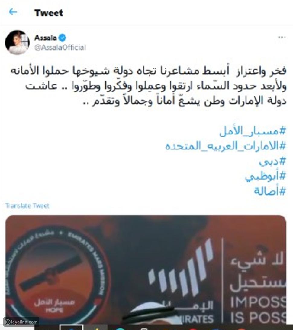 """الفنانون العرب يحتفلون بـ """"مسبار الأمل""""."""