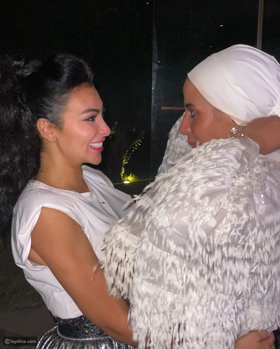 ميرهان حسين مع ابنة ماجد المصري في حفل خطوبتها الثاني