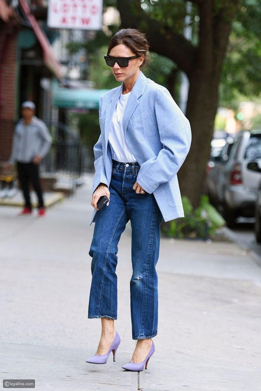 جينز طويل مستقيم