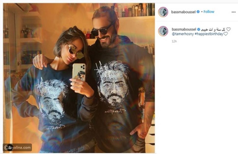 تامر حسني وزوجته يحتفلان بعيد ميلاده بنفس الملابس